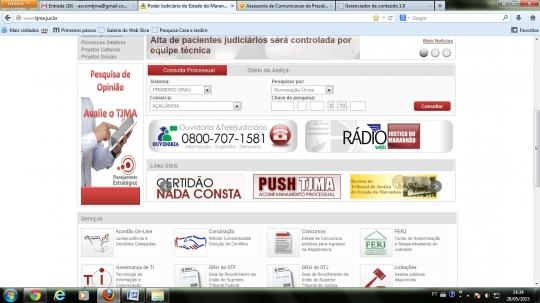 O cadastro � feito no Portal do Poder Judici�rio (www.tjma.jus.br) no link �Push TJMA�