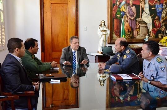 Comando da PMMA foi recebido pelo presidente do TJMA, Cleones Cunha, e o diretor de Segurança Institucional, major Alexandre Magno (Foto: Ribamar Pinheiro)