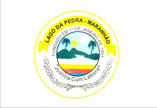 Brasão oficial do município de Lago da Pedra, que deve ser utilizado pela administração municipal.