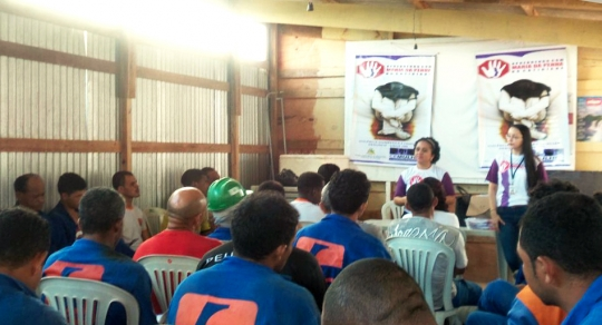 A palestra foi dirigida aos operários do canteiro de obras da Canopus, na Ponta do Farol