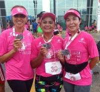 juízas Rosária de Fátima, Suely Feitosa e Sônia Amaral na Corrida Rosa Shok.