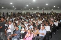 Casais evangélicos durante cerimônia de Casamento Comunitário da 3ª Vara da Família da Capital.