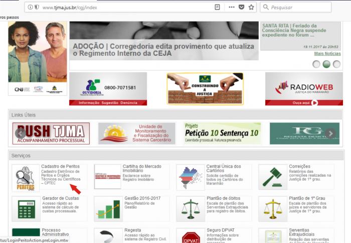 Ícone do Sistema Peritus está disponível na Área Serviços da página da CGJ na Internet.