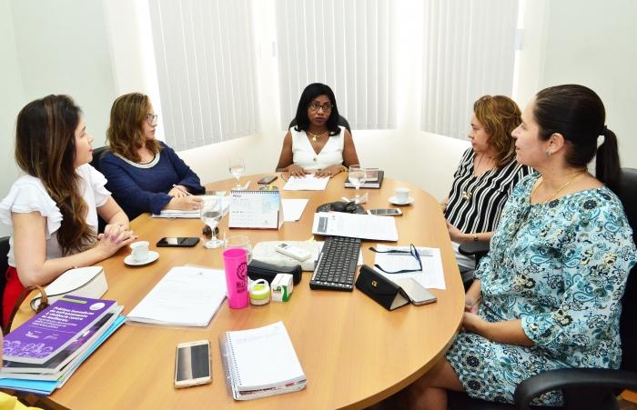 Reunião na CEMULHER discute formulário de riscos relacionado à violência doméstica contra a mulher. Foto: Ribamar Pinheiro/ TJMA