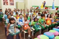 Crianças participam das atividades da Feira na Biblioteca Mundo Mágico, do TJMA. Foto: Ribamar Pinheiro/ Asscom TJMA